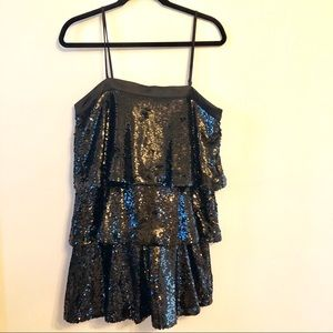 NWT Black Sequin Dress Tea & Cup Size Large
